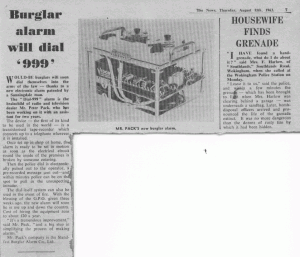 Newpaper Article from 1963